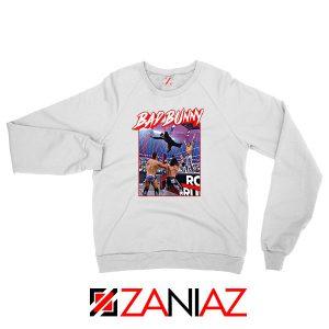 Bad Bunny Rapper Vintage WWE White Sweatshirt