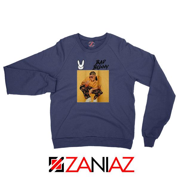 Bad Bunny Yellow Rap Navy Blue Sweatshirt
