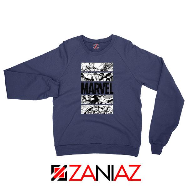 Marvel Superhero Panels Navy Blue Sweatshirt