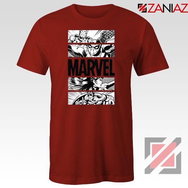 Marvel Superhero Panels Red Tshirt