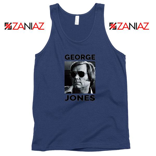George Jones Gospel Music Photo Navy Blue Tank Top
