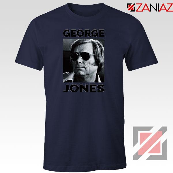George Jones Photo Musician Navy Blue Tshirt