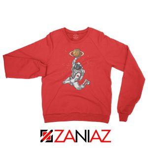 Astronaut Space Dunk Graphic Red Sweatshirt