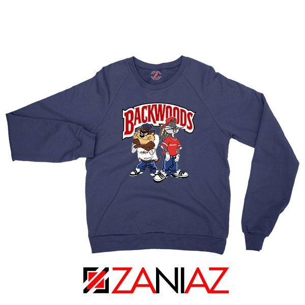 Backwoods Cartoon Smokes Navy Blue Sweatshirt