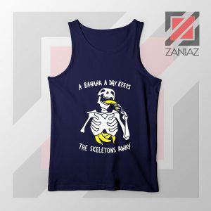 Banana The Skeletons Away Best Navy Blue Tank Top
