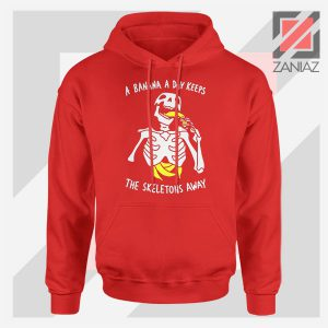 Banana The Skeletons Away Graphic Red Hoodie