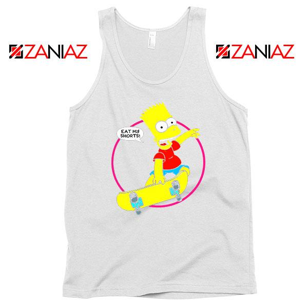 Bart Simpson Eat My Shorts White Tank Top