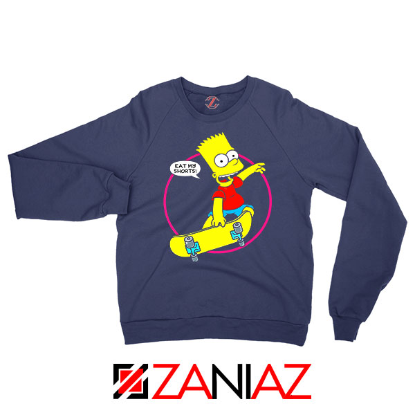 Bart Simpson Sitcom Eat My Shorts Navy Blue Sweater