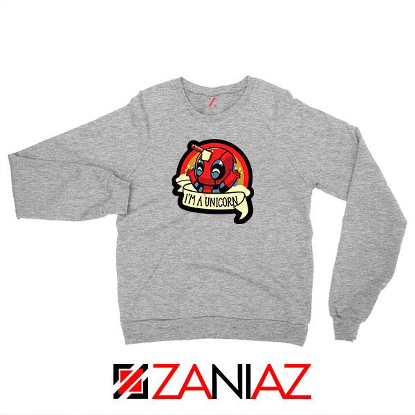 Deadpool Unicorn Superhero Grey Sweatshirt
