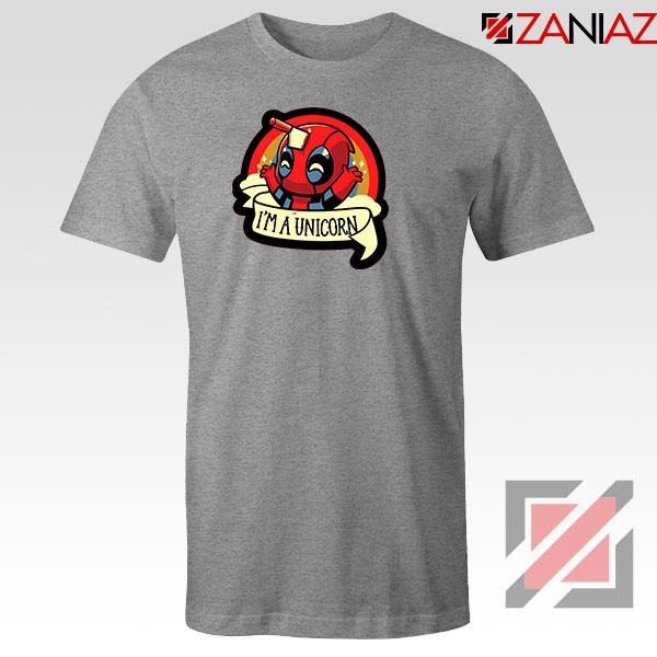 Deadpool Unicorn Superhero Grey Tshirt