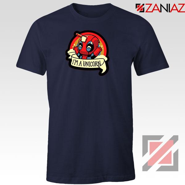 Deadpool Unicorn Superhero Navy Blue Tshirt
