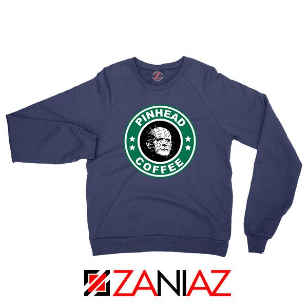 Hellraiser Horror Pinhead Coffee Navy Blue Sweatshirt