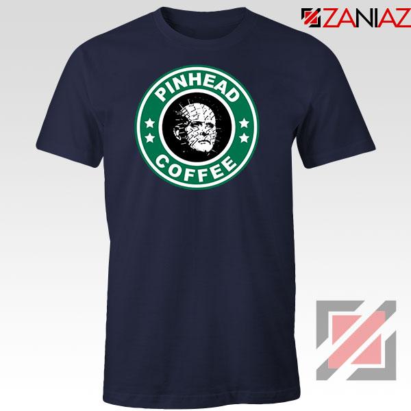 Hellraiser Horror Pinhead Coffee Navy Blue Tshirt