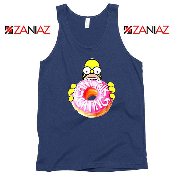Homer Jay Simpson Eat Donut Navy Blue Tank Top