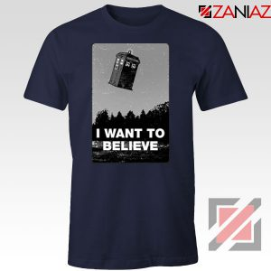 I Want To Believe Doctor Who Graphic Navy Blue Tee