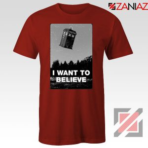 I Want To Believe Doctor Who Graphic Red Tee