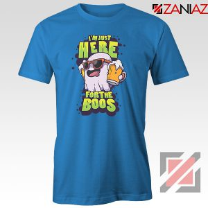 Just Here For The Boos Ghost Graphic Blue Tee