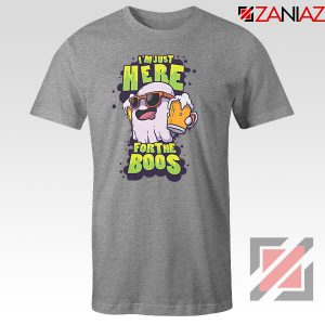 Just Here For The Boos Ghost Graphic Sport Grey Tee