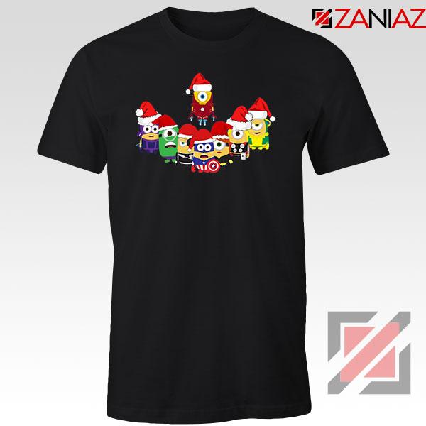 Minions Superheroes Xmas Black Tshirt