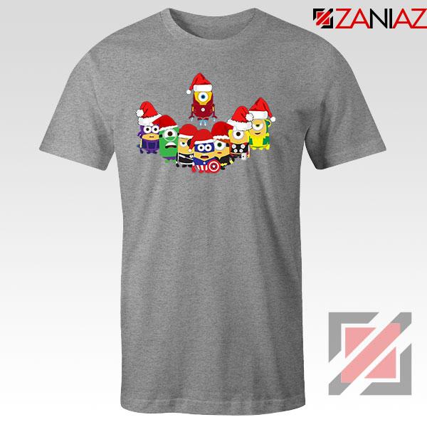 Minions Superheroes Xmas Grey Tshirt