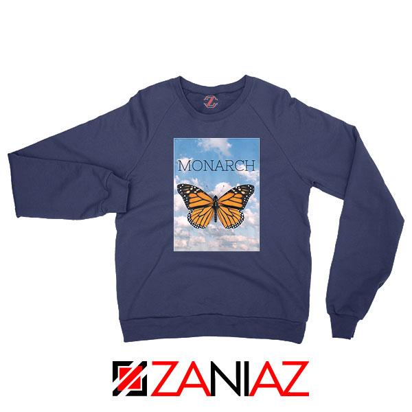 Monarch Butterfly Graphic Animal Navy Blue Sweatshirt