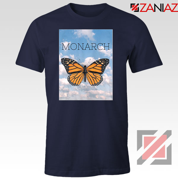 Monarch Butterfly Graphic Animal Navy Blue Tshirt