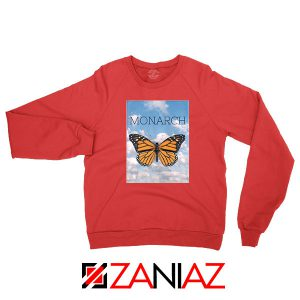 Monarch Butterfly Graphic Animal Red Sweatshirt