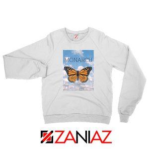 Monarch Butterfly Graphic Animal White Sweatshirt