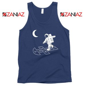 Moon and Astronaut Playing Navy Blue Tank Top