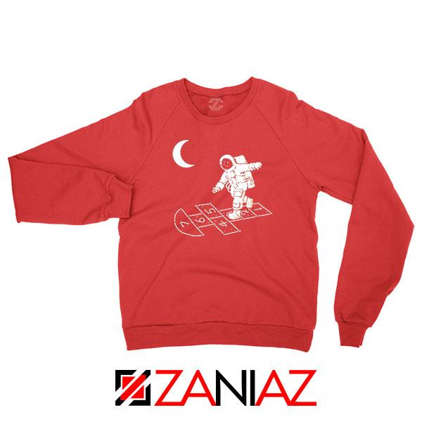 Moon and Astronaut Playing Red Sweatshirt
