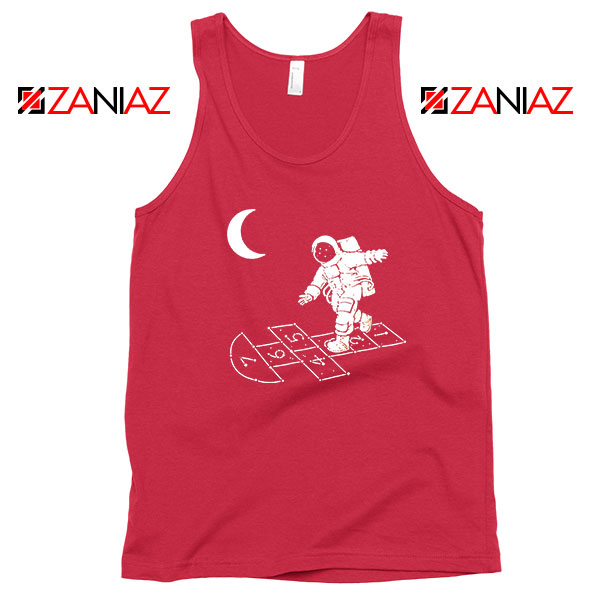 Moon and Astronaut Playing Red Tank Top