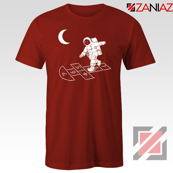 Moon and Astronaut Playing Red Tshirt