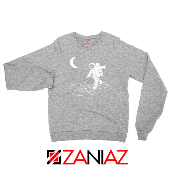Moon and Astronaut Playing Sport Grey Sweatshirt