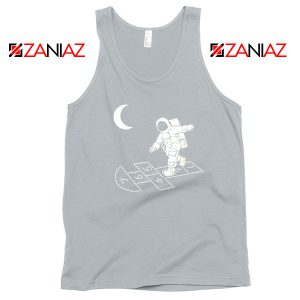 Moon and Astronaut Playing Sport Grey Tank Top