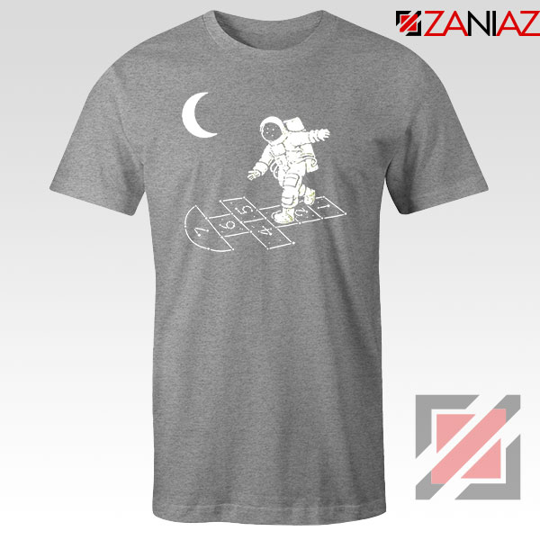 Moon and Astronaut Playing Sport Grey Tshirt