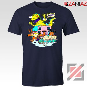 Rugrats Characters Run From Reptar Navy Blue Tshirt