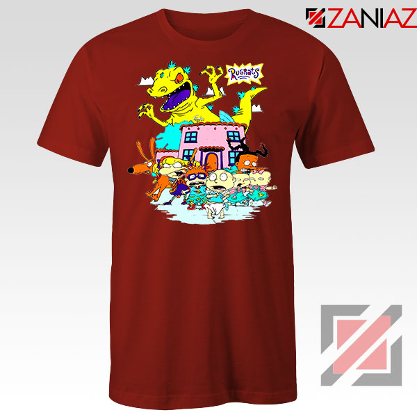 Rugrats Characters Run From Reptar Red Tshirt