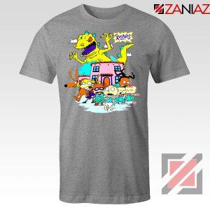Rugrats Characters Run From Reptar Sport Grey Tshirt