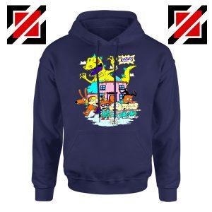 Rugrats Kids Run From Reptar Navy Blue Hoodie