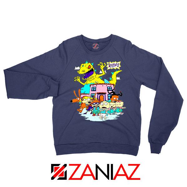Rugrats Kids Run From Reptar Navy Blue Sweatshirt