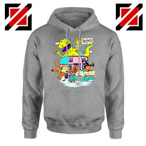Rugrats Kids Run From Reptar Sport Grey Hoodie