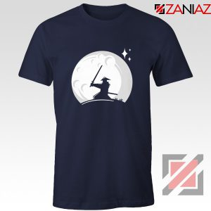 Samurai Silhouette Moon Best Graphic Navy Blue Tshirt