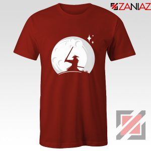 Samurai Silhouette Moon Best Graphic Red Tshirt