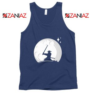 Samurai Silhouette Moon Best Navy Blue Tank Top