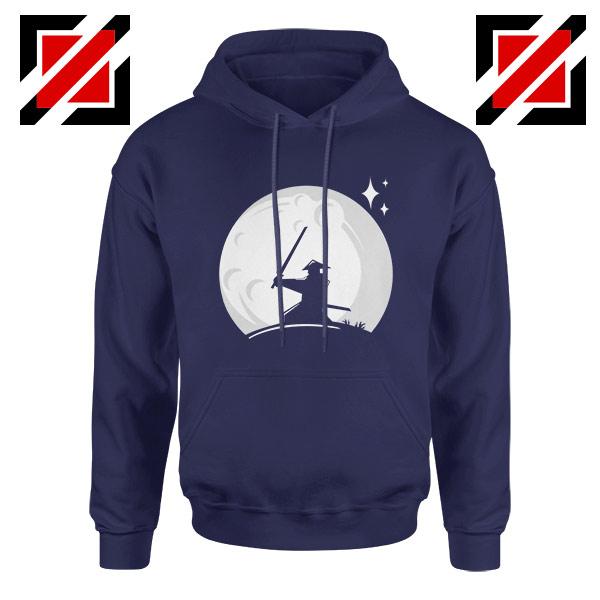 Samurai Silhouette Moon Design Navy Blue Hoodie