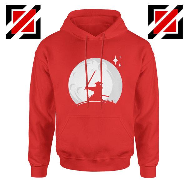 Samurai Silhouette Moon Design Red Hoodie