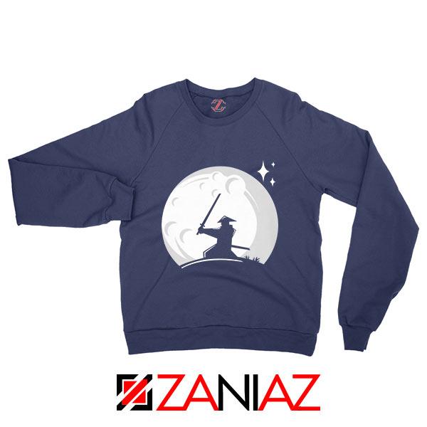 Samurai Silhouette Moon Graphic Navy Blue Sweatshirt