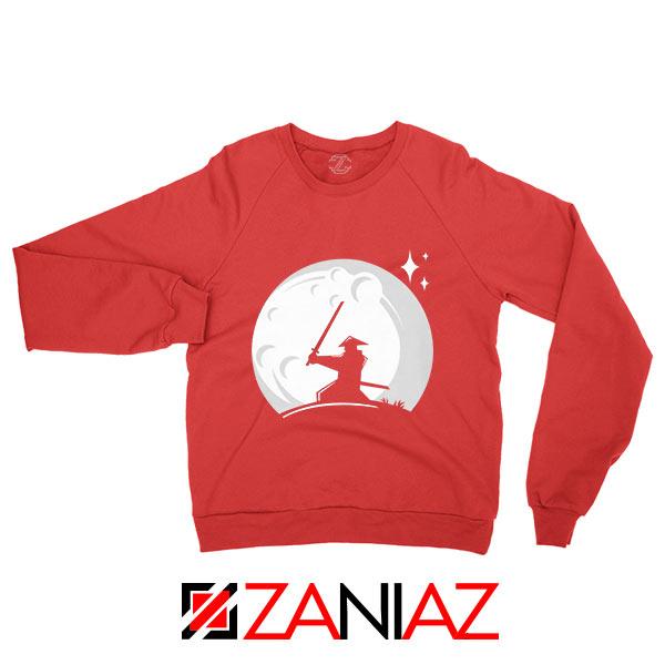 Samurai Silhouette Moon Graphic Red Sweatshirt