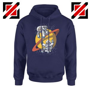 Sloth Lazy Astronauts Graphic Navy Blue Hoodie