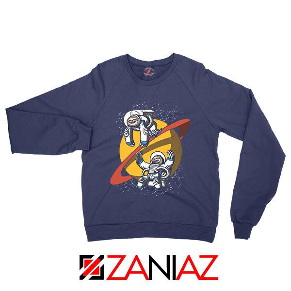 Sloth Lazy Astronauts Graphic Navy Blue Sweatshirt